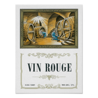 Vin Rouge Wine LabelEurope Poster