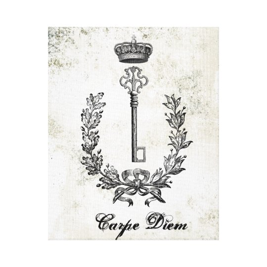 Vinage French Key and Crown stretched canvas