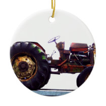Vinage French Tractor Ceramic Ornament