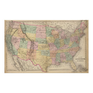 Vinage Map of The United States (1873) Poster