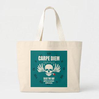 Vinage Seize the day. Carpe Diem motivational Large Tote Bag