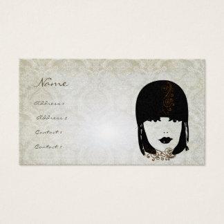 Vinatage Girl Damask Rose Boutique Fashion Business Card