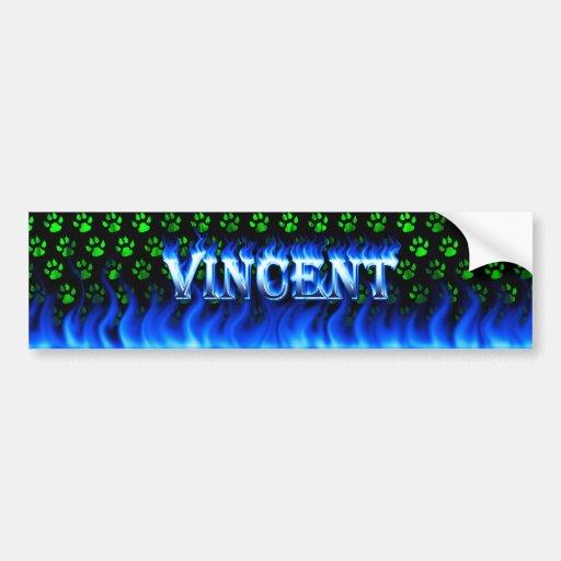 Vincent blue fire and flames bumper sticker design car bumper sticker