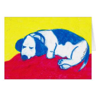 Vincent el perro en colores primarios tarjeta de felicitación