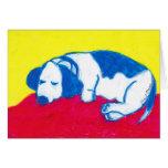 Vincent el perro en colores primarios tarjetón