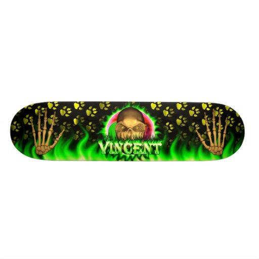 Vincent skull green fire Skatersollie skateboard. Custom Skate Board