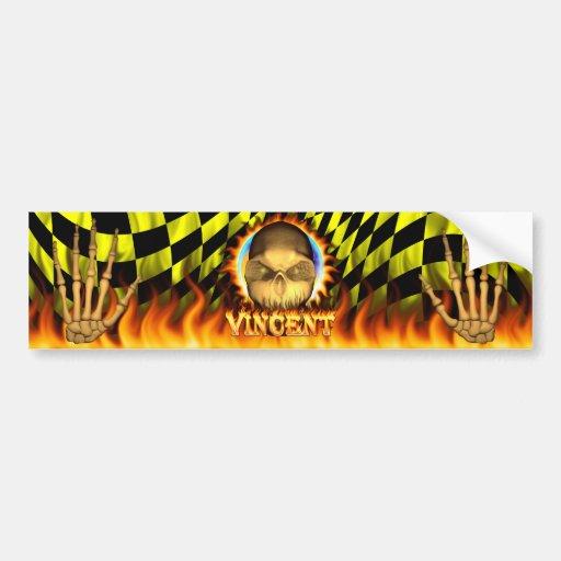 Vincent skull real fire and flames bumper sticker car bumper sticker