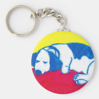 Vincent the Dog in Primary Colors Keychain