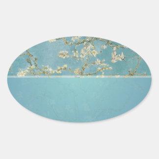 vincent van gogh, almond blossoms oval sticker