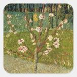 Vincent van Gogh - árbol de almendra en flor Pegatinas Cuadradases