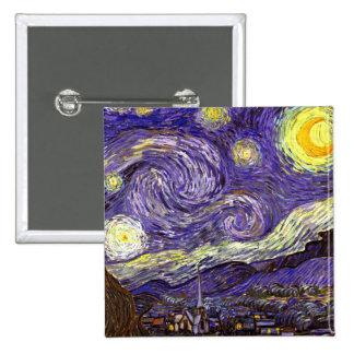 Vincent Van Gogh art Starry Night painting Button