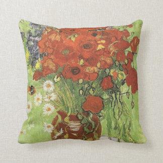 Vincent van Gogh, aún vida - amapolas rojas… Cojín Decorativo