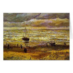 vincent van gogh, beach with figures and sea with  greeting card