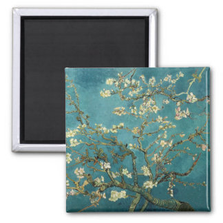 Vincent Van Gogh -  Blossoming Almond Tree 2 Inch Square Magnet
