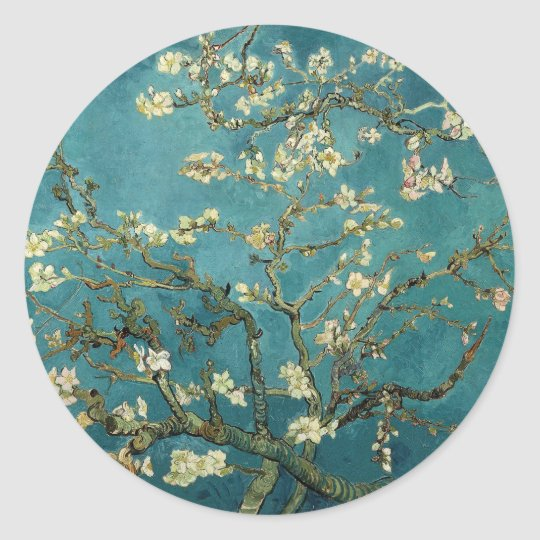 Vincent Van Gogh -  Blossoming Almond Tree Classic Round Sticker