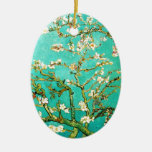 Vincent van Gogh Blossoming Almond Tree Double-Sided Oval Ceramic Christmas Ornament