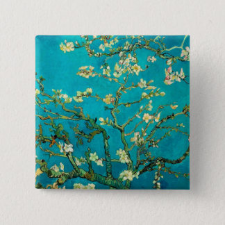 Vincent Van Gogh Blossoming Almond Tree Floral Art Button
