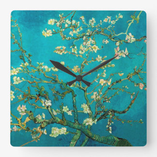 Vincent Van Gogh Blossoming Almond Tree Floral Art Square Wall Clock