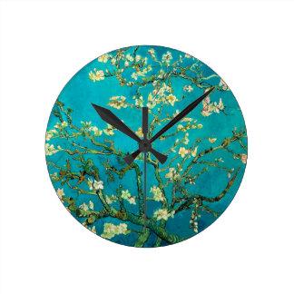 Vincent Van Gogh Blossoming Almond Tree Floral Art Round Wallclock