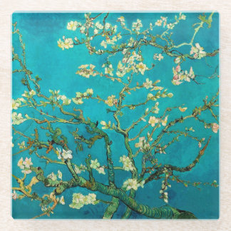 Vincent Van Gogh Blossoming Almond Tree Floral Art Glass Coaster