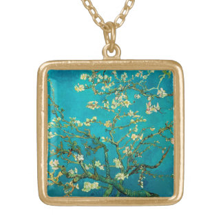 Vincent Van Gogh Blossoming Almond Tree Floral Art Gold Plated Necklace