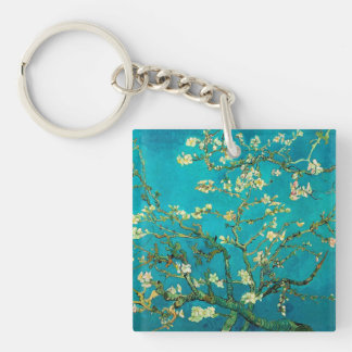 Vincent Van Gogh Blossoming Almond Tree Floral Art Square Acrylic Keychain