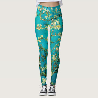 Vincent Van Gogh Blossoming Almond Tree Floral Art Leggings