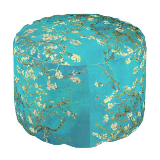 Vincent Van Gogh Blossoming Almond Tree Floral Art Round Pouf