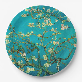 Vincent Van Gogh Blossoming Almond Tree Floral Art Paper Plate