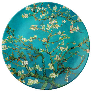 Vincent Van Gogh Blossoming Almond Tree Floral Art Plate