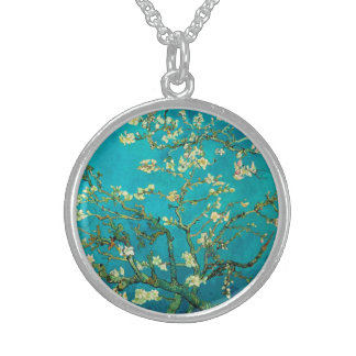 Vincent Van Gogh Blossoming Almond Tree Floral Art Round Pendant Necklace