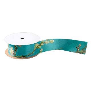 Vincent Van Gogh Blossoming Almond Tree Floral Art Satin Ribbon