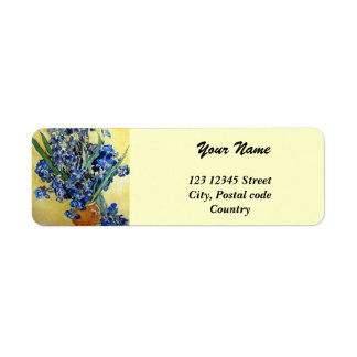Vincent van Gogh, blue irises in yellow background Label