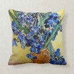 Vincent van Gogh, blue irises Throw Pillows