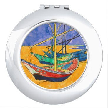 Beach Themed Vincent Van Gogh Boats Impressionist Mirror For Makeup