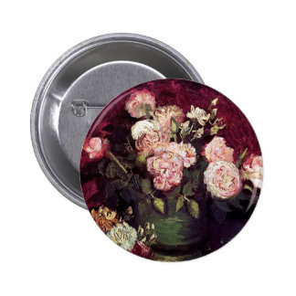 Vincent Van Gogh - Bowl with Peonies & Roses Button