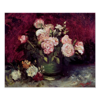 Vincent Van Gogh - Bowl with Peonies & Roses Poster