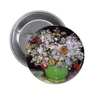 Vincent Van Gogh - Bowl With Zinnias Fine Art Pinback Button