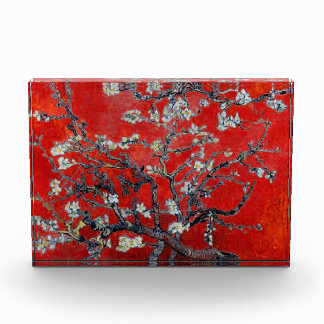 Vincent van Gogh Branches with Almond Blossom Red Acrylic Award