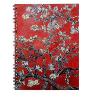 Vincent van Gogh Branches with Almond Blossom Red Notebook