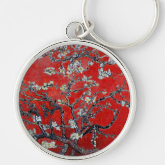 Vincent van Gogh Branches with Almond Blossom Silver-Colored Round Keychain