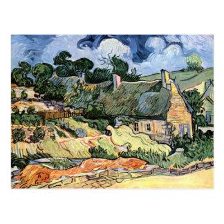 Vincent van Gogh - cabañas cubiertas con paja en Tarjeta Postal
