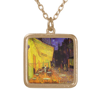 Vincent Van Gogh Cafe Terrace At Night Fine Art Gold Plated Necklace