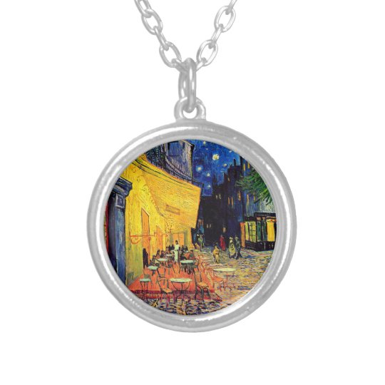 Vincent Van Gogh - Cafe Terrace At Night Fine Art Silver Plated Necklace