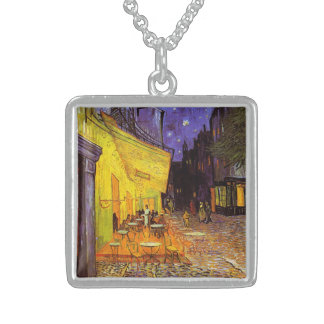 Vincent Van Gogh Cafe Terrace At Night Fine Art Sterling Silver Necklace