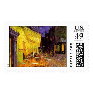 Vincent Van Gogh Cafe Terrace At Night Painting Postage Stamp