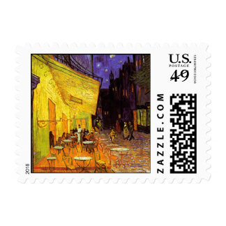 Vincent Van Gogh Cafe Terrace At Night Painting Postage Stamps