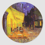 Vincent Van Gogh Cafe Terrace At Night Painting Classic Round Sticker