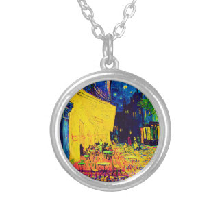 Vincent Van Gogh - Cafe Terrace At Night Pop Art Silver Plated Necklace