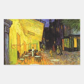 Vincent Van Gogh Cafe Terrace At Night Vintage Art Rectangular Sticker